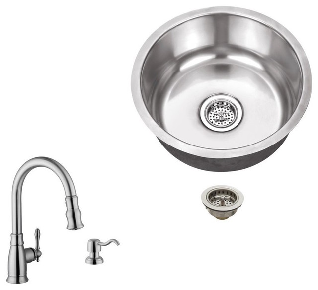 Stainless Steel 18-Gauge Single Bowl Round Bar Sink With Arc Kitchen Faucet.