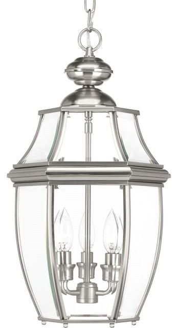 Progress Lighting New Haven 3-Light, Brushed Nickel Hanging Lantern