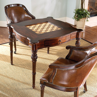 Freeman Game Table and Two Leather Chairs - Traditional - Living Room Chairs - by FRONTGATE