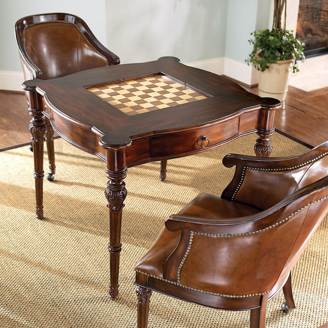 Freeman game table and two leather chairs traditional for Living room chair and table set
