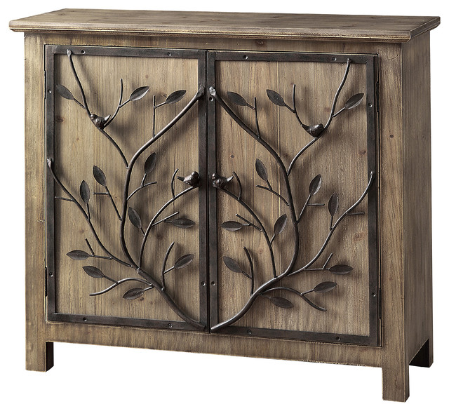 Windcrest Rustic Wood And Metal Tree 2 Door Cabinet Accent Chests Cabinets By Zeckos