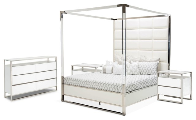 AICO State St. 4-PIece Metal Canopy Bedroom Set - Option 5, California King