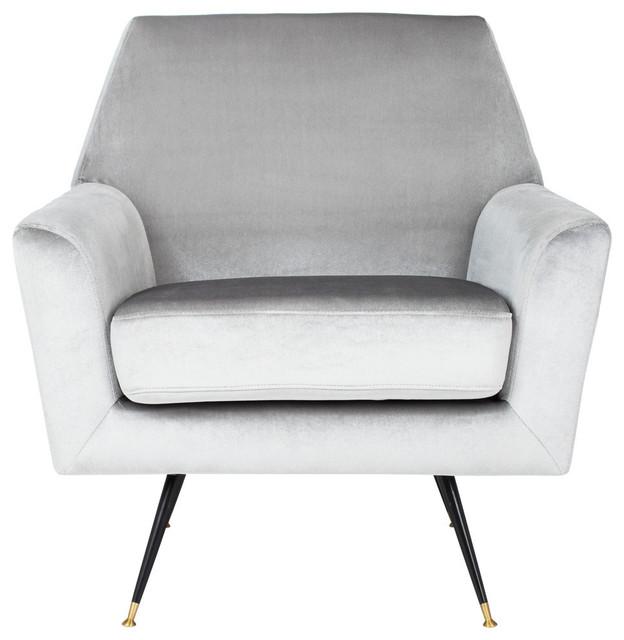Nynette Velvet Retro Mid-Century Accent Chair, Light Gray