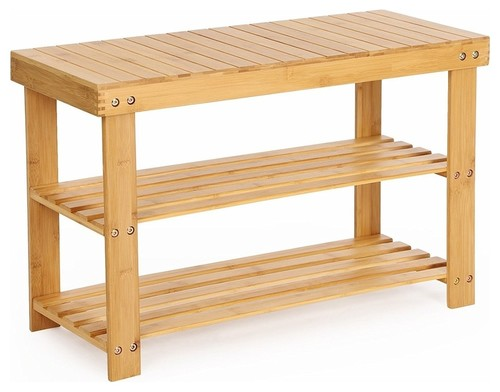 Traditional Bench With Two Open Shelves, Bamboo, Natural