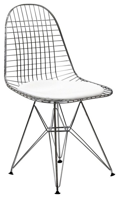 Exceptionnel Midcentury Modern Wire Dining Side Chair, White