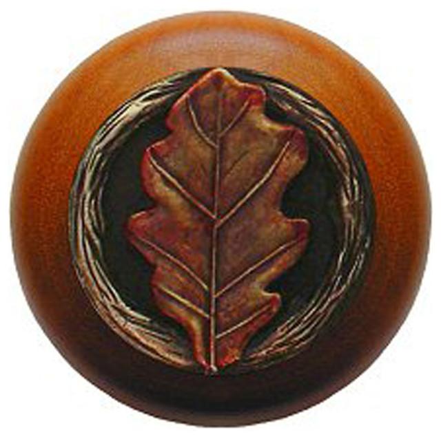 Oak Leaf Cherry Wood Knob (hand-tinted brass) - Rustic ...