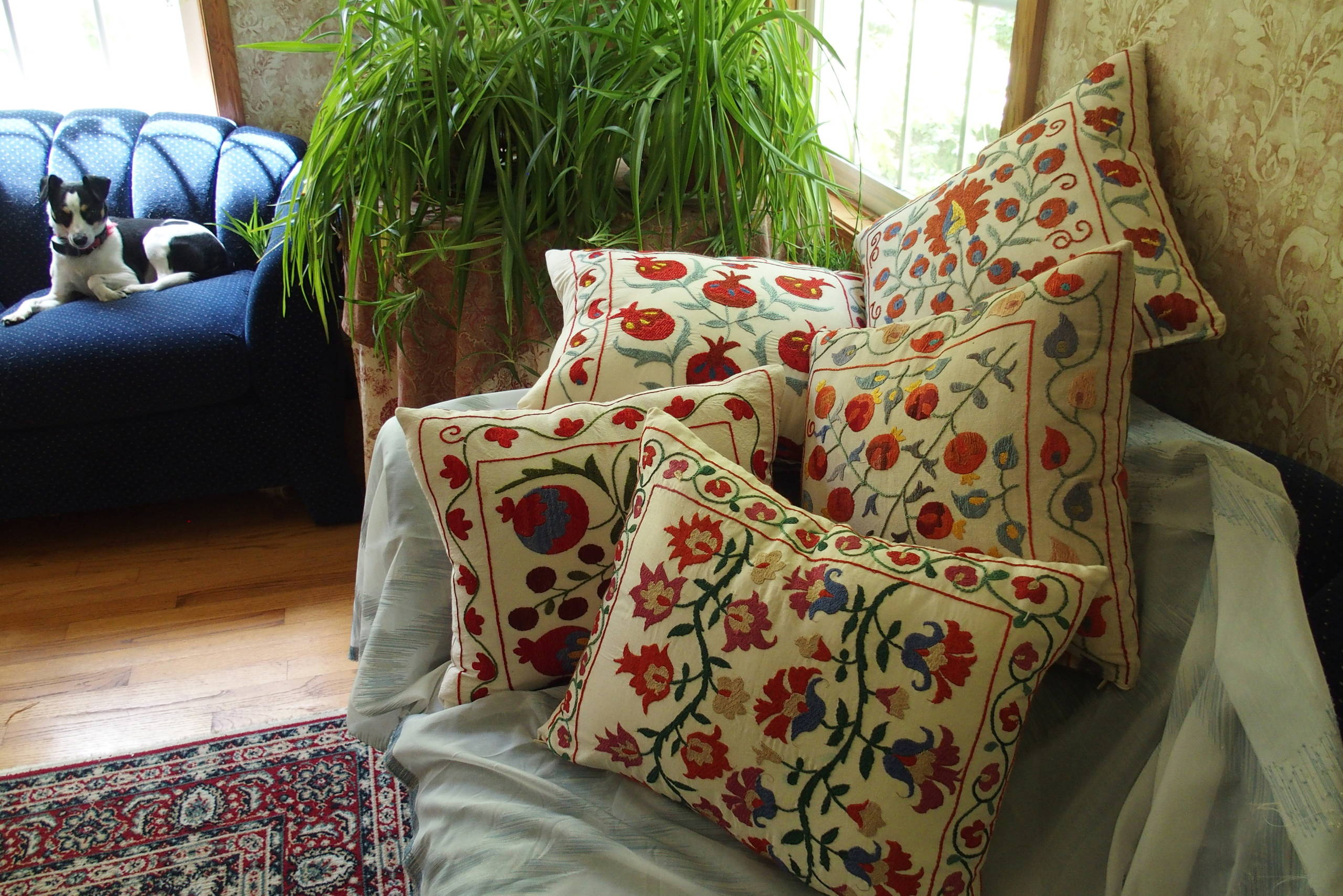 Decorative pillows made with embroidered towels from Turkey.
