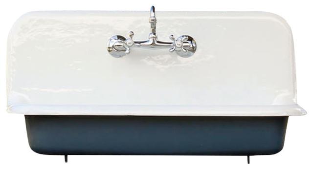 Antique Style High Back Farm Sink Cast Iron Porcelain Wall Sink Blue 36 Farmhouse