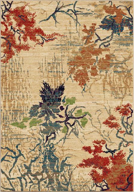 "Mardi Gras Abstract Bloomer Area Rug, Beige, 7&x27;10""x10&x27;10""."