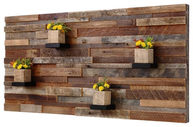 Reclaimed Barn Wood Wall Art With Shelves, 4'x2'