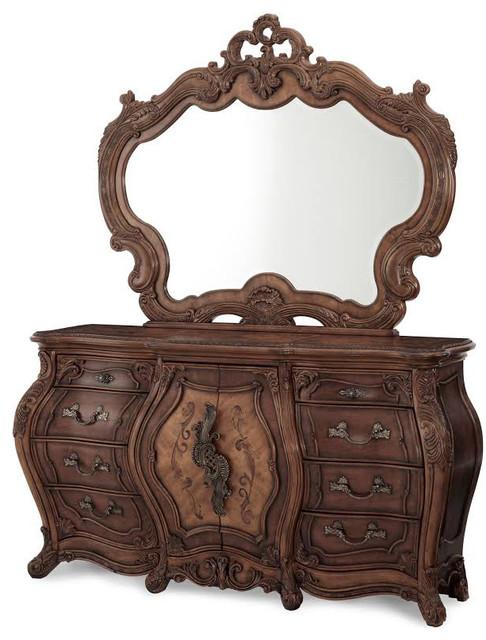 Palais Royale Triple Dresser And Mirror, Rococo Cognac, 2-Piece Set.