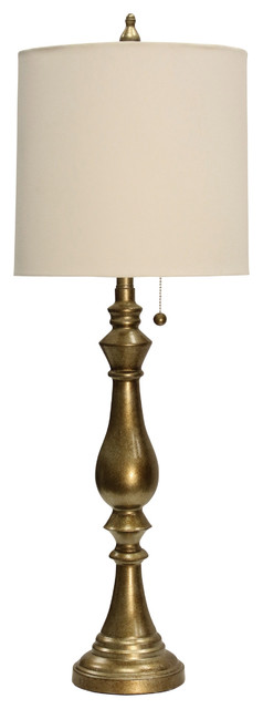 Imperial Table Lamp, Gold Finish, Cream Hardback Fabric Shade.