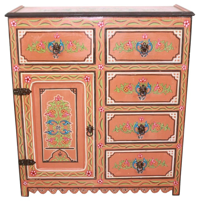 Tall Moroccan Hand Painted Wooden Cabinet, Dresser