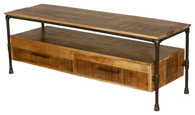 Awesome Industrial Iron Pipe U0026 Mango Wood TV Table Media Island  Rustic Entertainment Centers
