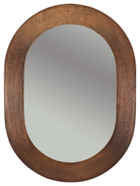 35 Hand Hammered Oval Copper Mirror Traditional Bathroom Mirrors