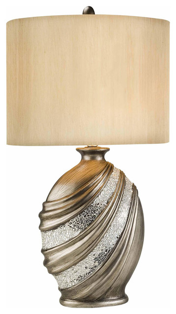 30.5 Tall Polyresin Table Lamp With Bronze Finish And Glass Mosaic Accents.