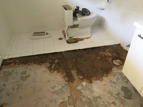 My Bathroom Floor Is Leaking : Bathroom floor remodel going terribly wrong