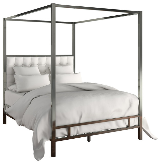 Safira Modern Metal Canopy Bed In Black Nickel, Off-White, King.