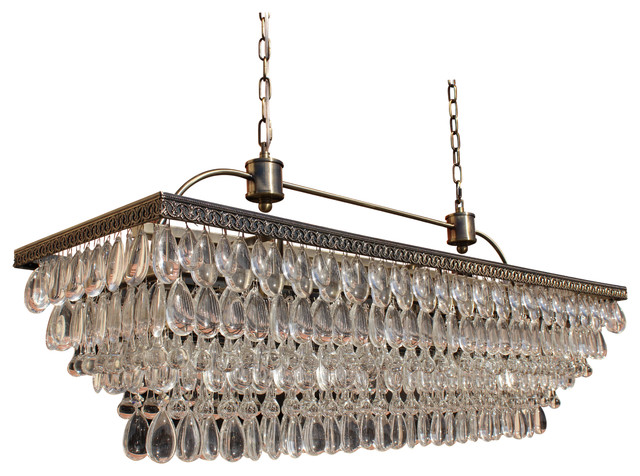 Lightupmyhome Weston Rectangular Glass Drop Chandelier, Antique Brass Finish,