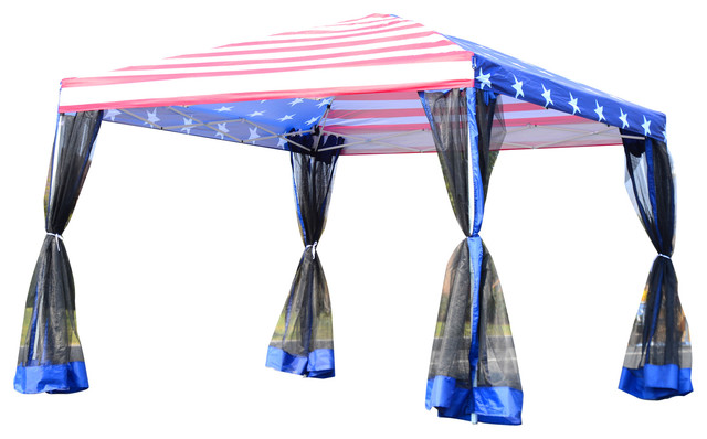 10&x27;x10&x27; Pop-Up Canopy Shelter Party Tent With Mesh Walls, American Flag.