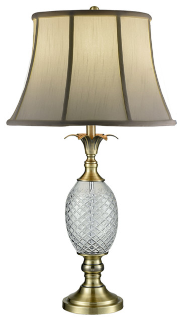 Brass Pineapple 24 Lead Crystal Table Lamp Tropical