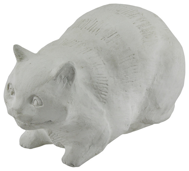White Cement Cheshire Cat Alice Wonderland Statue Contemporary Garden  Statues And