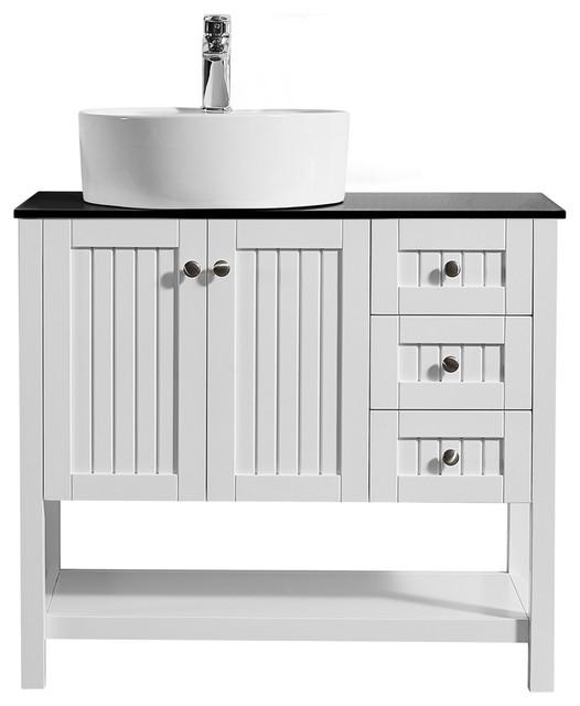 Modena Vanity Glass Countertop White Vessel Sink