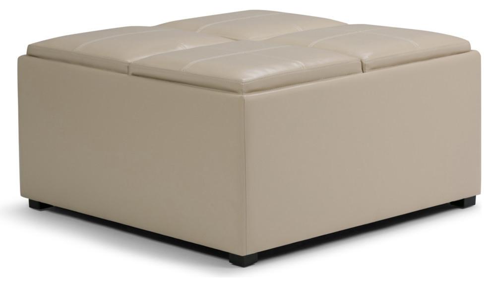 Admirable Coffee Table Storage Ottoman In Satin Cream Dailytribune Chair Design For Home Dailytribuneorg