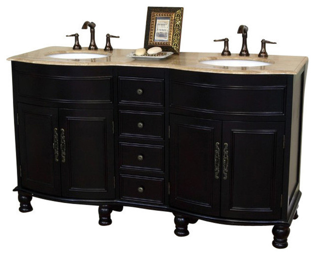 62 Double Sink Vanity Solid Wood Dark Mahogany Finish Travertine Counter Top Traditional