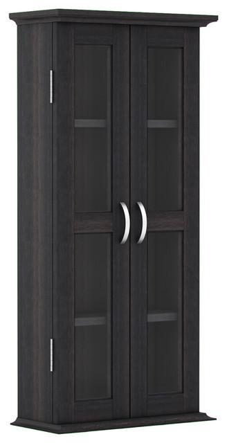 "Kirkwell 41"" Wood Dvd Media Storage Tower, Charcoal."
