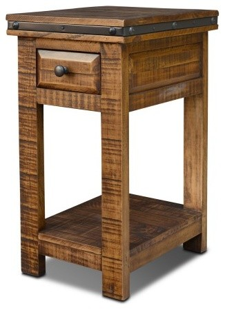 Delightful Rustic Distressed Reclaimed Wood Narrow End Table With Drawer Rustic Side  Tables And