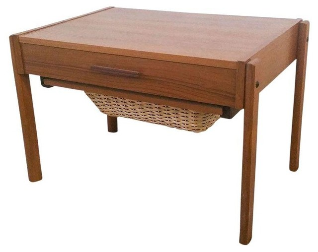 Danish Modern Teak Sewing Box Side Table Midcentury Side Tables And End