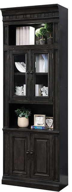 Parker House Washington Heights WAS#440 Glass Door Cabinet in Charcoal