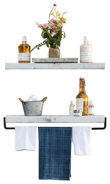 True Floating Wall Shelf and Towel Rack, White