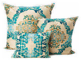 Kim Seybert Teal Brocade Throw Pillows decorative-pillows