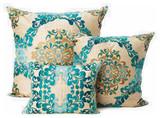 Kim Seybert Teal Brocade Throw Pillows decorative-pillows