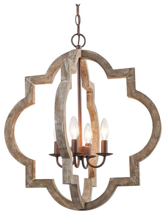 4 Light Geometric Pendant Light Mediterranean Chandeliers By Lnc
