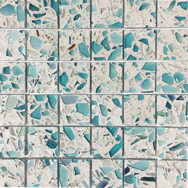 12 X12 Recycled Gl Mosaic Tiles For Backsplash Floating Blue Modern Tile By Vetrazzo