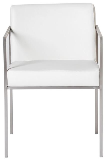Moe's Home Capo Arm Chairs, White, Set of 2