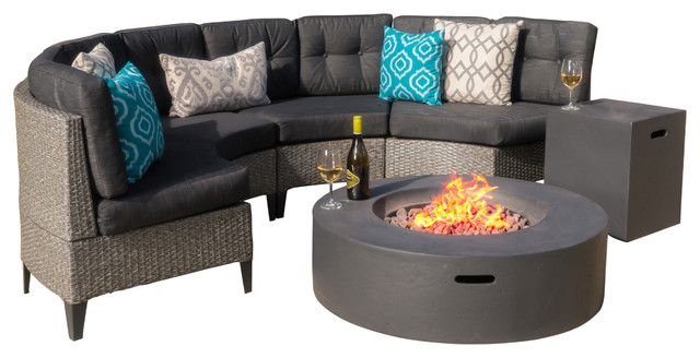 GDF Studio 6-Piece Nessett Outdoor Black Wicker Half Round Sofa, Dark Gray
