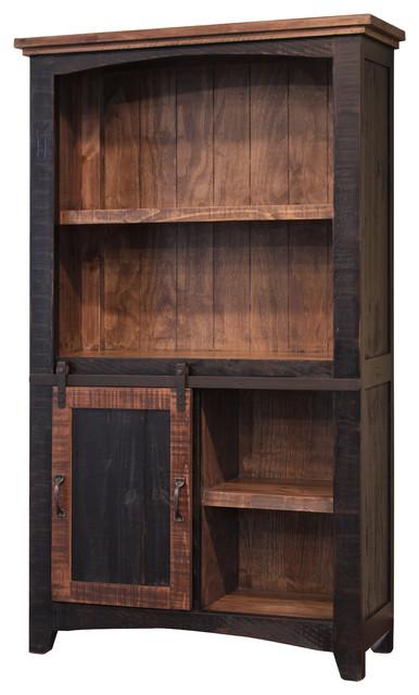 Greenview Sliding Door Bookcase, Distressed Black