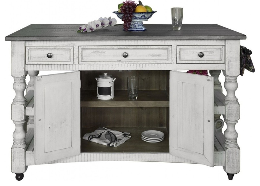 Greenview Rustic Farmhouse Kitchen Island Solid Wood Farmhouse Kitchen Islands And Kitchen Carts By Crafters And Weavers