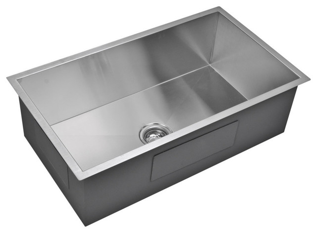 33 X 19 Zero Radius Single Bowl Stainless Steel Undermount Kitchen Sink Modern