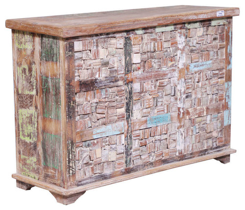 Thayne Reclaimed Wood Mosaic Traditional Storage Trunk Chest