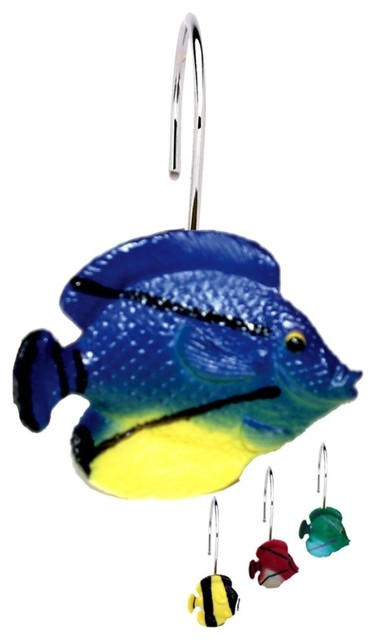 Tropical Fish Shower Curtain Hooks 12 Piece