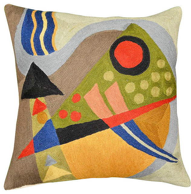 """Kandinsky Composition Vii Cushion Cover Hand Embroidered 18"""" X 18""""."""