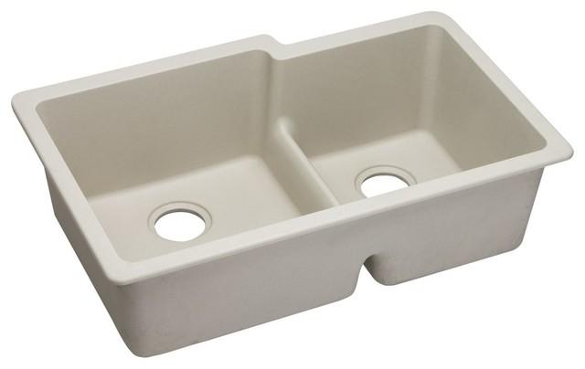 "Elkay Quartz Sink Classic 33""x20-1/2"" Double Bowl Undermount Aqua Divide Bisque."