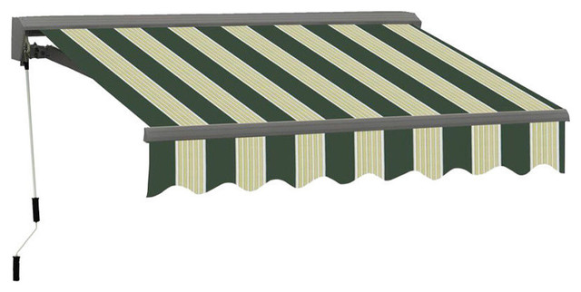 12 Ft Classic Semi-Cassette Electric Easy-Pitch Retractable Awning, Green/cream.