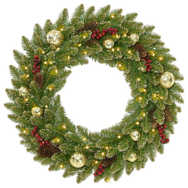 Glittery Gold Dunhill(r) Fir Wreath With Battery Operated Led Lights, 24.