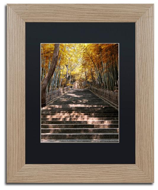 "Philippe Hugonnard &x27;autumn Stairs&x27; Art, Birch Frame, Black Matte, 14""x11""."